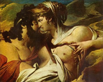 zeus-hera I do love the butterfly kiss. [Painting by James Barry, 1790-1799.]